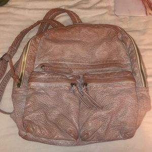 Pink faux leather backpack gently used